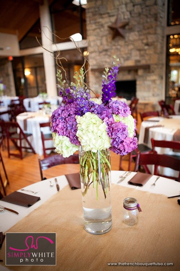 White and Purple Hydrangea for Tall Centerpiece