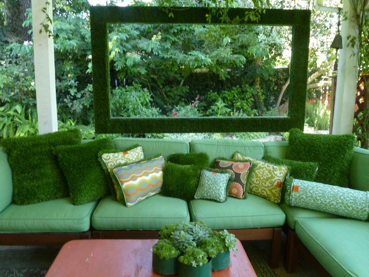 Reversible patio pillows ~ Synthetic turf on one side, sunbrella fabric on the other!