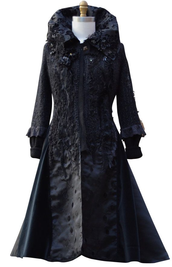 Long black Sweater coat Victorian  romantic OOAK by amberstudios