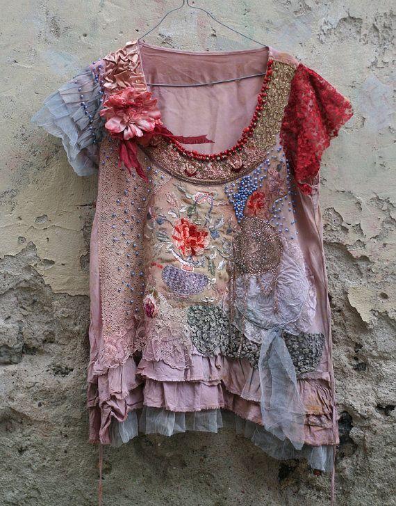 Peonyromantic embroidered tunic top textile by FleurBonheur