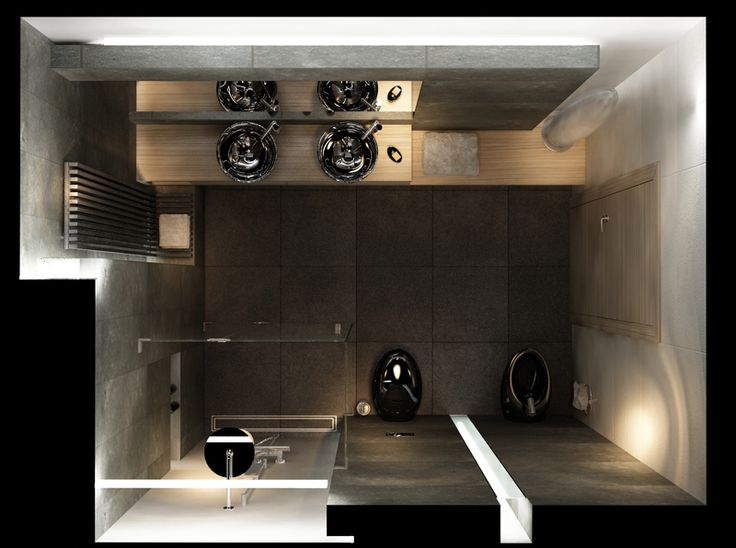 Typowo męska łazienka z zastosowaniem czarnej ceramiki. Rzut