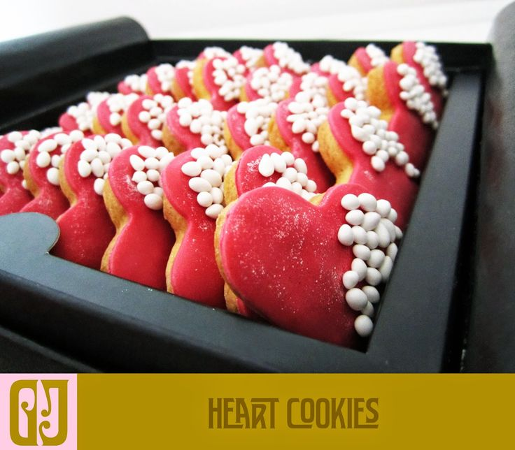 heart shaped biscuits in elegant box