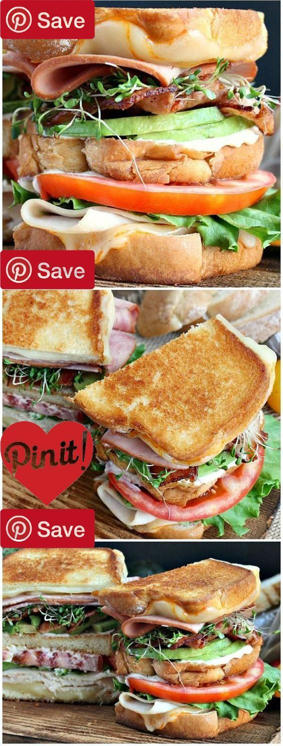 Grilled California Club Sandwich - Ingredients Meat 3 slices Bacon cooked 3 slices Ham 3 slices Turkey Produce 1 Alfalfa sprouts Avocado Tomato Condiments 1 Mayonnaise Bread & Baked Goods 3 slices Sara lee artesano bread Dairy 1 Butter 4 slices Munster cheese