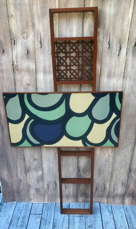 Mid Century Modern Wooden Room Divider With Great Design Painting Atomic Age