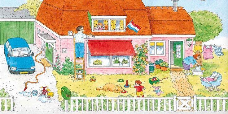 Praatplaat Bas - Buitenkant huis (Getekend door Dagmar Stam)