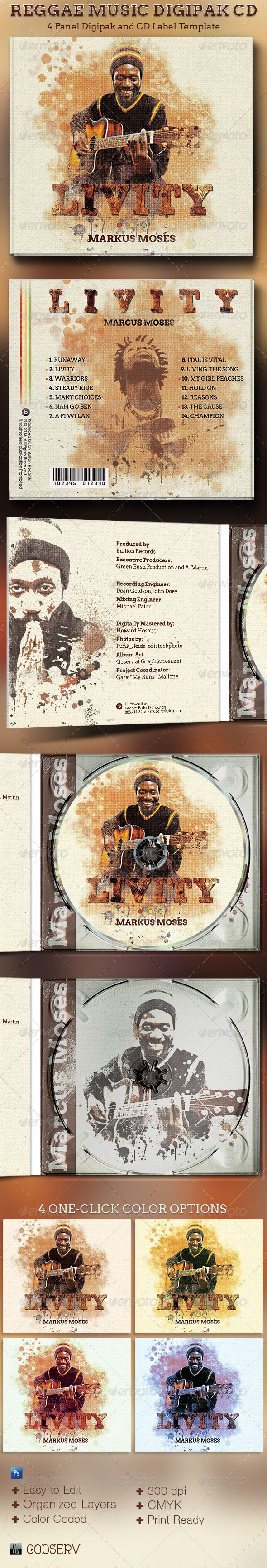 The Reggae Music 4 Panel Digipak CD Artwork Template is customized for any island music or poetry recording artists that needs an artistic design with a retro vibe. It can be used for music albums, audio books, dj's mixes, iTunes sales, demos, and lots more. You can change colors easily by editing the included color options. $6.00
