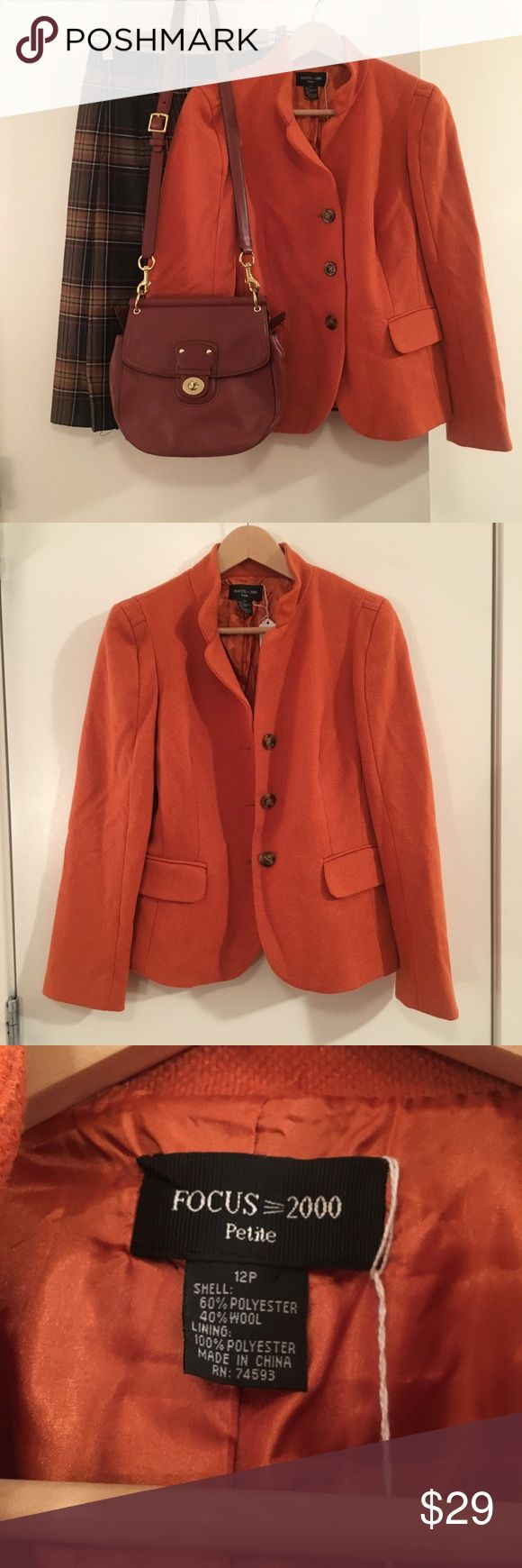 ✨Focus 2000✨ Zesty Orange Wool Blazer 12P Every wardrobe needs a pop of color so why not add this Zesty & Warm Orange fitted Blazer. ✨💞✨💞  All of the other items in this outfit are sold separately in my closet. Don't forget to bundle and save 💃🏾💃🏾💃🏾💃🏾 Jackets & Coats Blazers