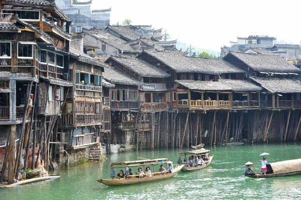 Ancient scenic town in Hunan province, China. This looks surreal. Like something out of a #Hollywood movie  #travel