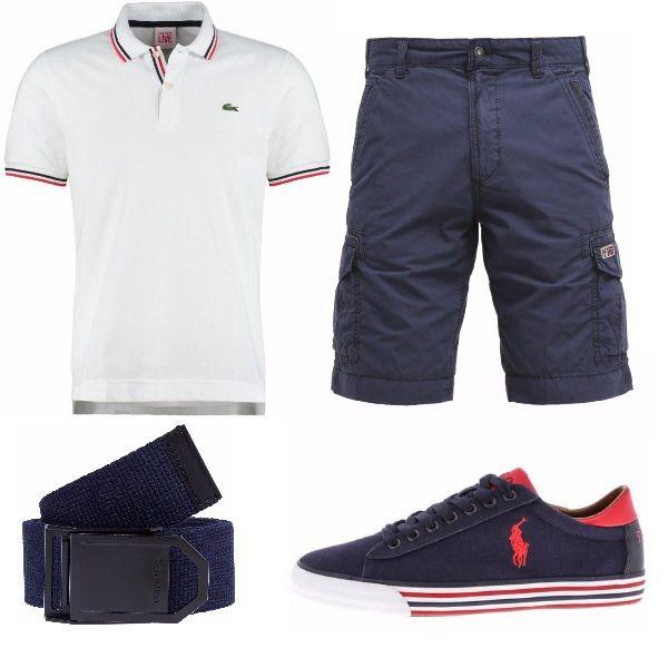 Outfit per il tempo libero pensato per un ragazzo dinamico e sportivo. La polo La Coste è un evergreen abbinata ai pantaloni al ginocchio con tasche laterali. Cintura sportiva e sneakers in tinta.