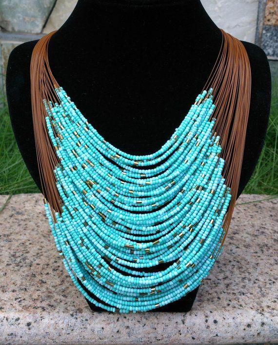 Turquoises Multi Strand Beaded Necklace