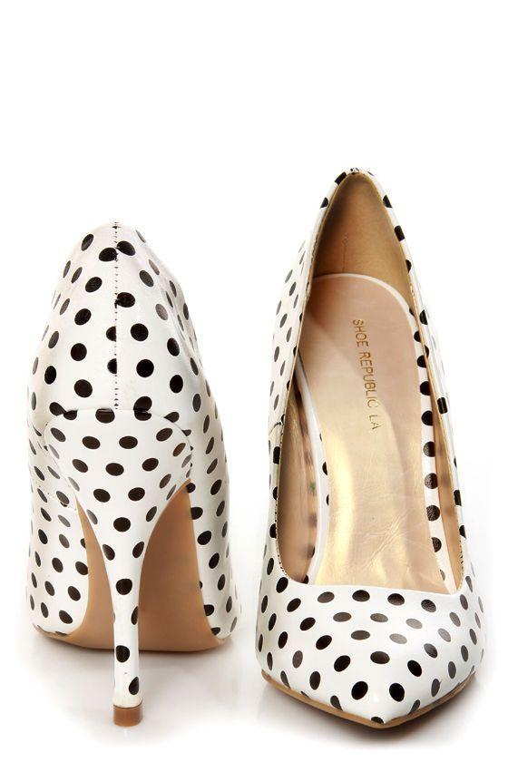 Shoe Republic LA Define White and Black Polka Dot Pointed Pumps - $35.00