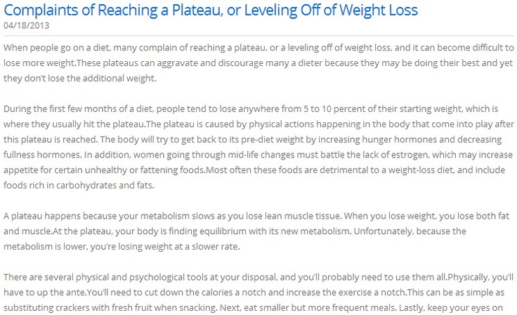 Complaints of Reaching a Plateau, or Leveling Off of Weight Loss