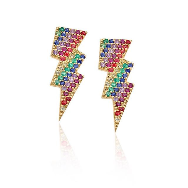 Our 18carat emerald, ruby and coloured Saphire Lightning bolt Earrings now available from  @brownsfashion #antonheunisfine #antonheunis #finejewelry #gold