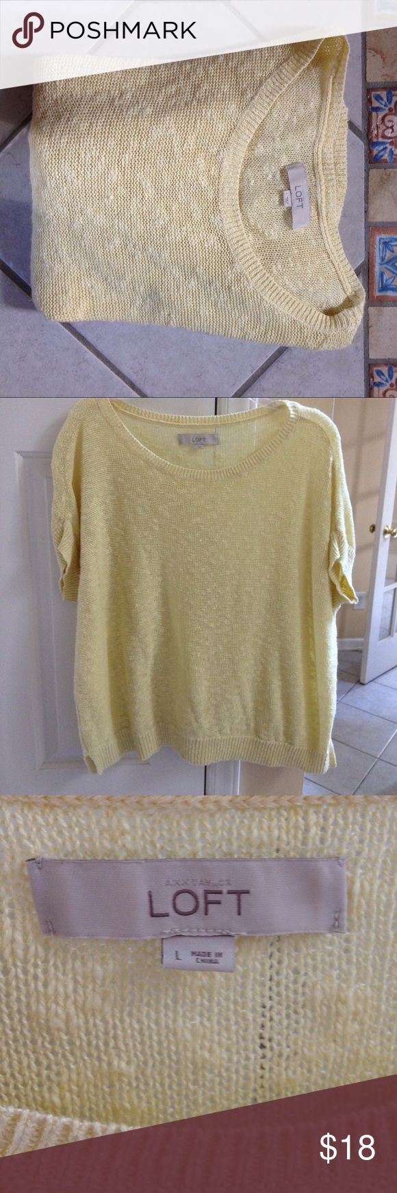 "💕Lightweight LOFT sweater💕 Beautiful yellow-chartreuse color, lightweight and short sleeves.  Light texture. Flattering side splits at the hem. Perfect for cool summer evenings. Underarm to underarm is 24"". Shoulder to hem is 24.5"".  Linen and cotton. LOFT Tops"
