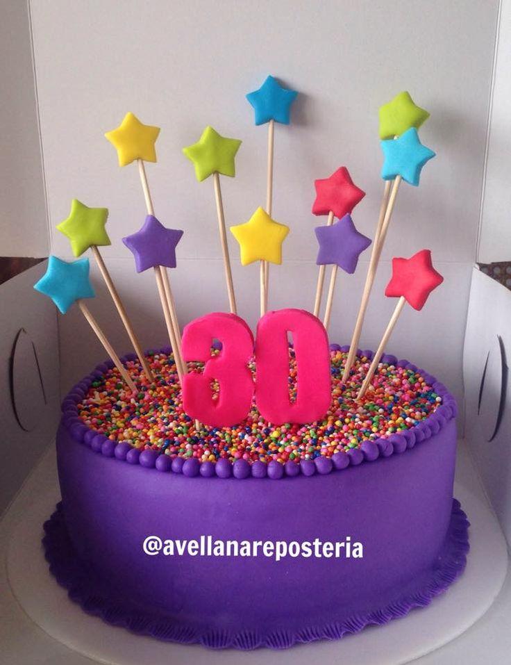 cumpleaños 30 morado estrellas grageas color