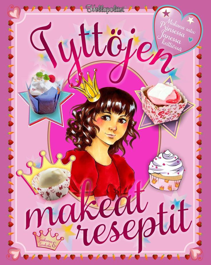 Tyttöjen makeat reseptit. Hellapoliisi-ruokakirjoistaan tuttu Kati Jaakonen on kirjoittanut upean reseptikirjan tytöille. Mukana on myös keittiösatu, jossa prinsessa Janessa kokkailee äidin kanssa.  Kirja sisältää 30 hauskaa reseptiä, joita voi tehdä yhdessä lasten kanssa. Kirjasta löytyy keittiöstä tuttuja esineitä, joita on hauska yhdessä tutkia. Ihanan värikkäät ja suloiset kuvat on kuvittanut Laura Loukola.