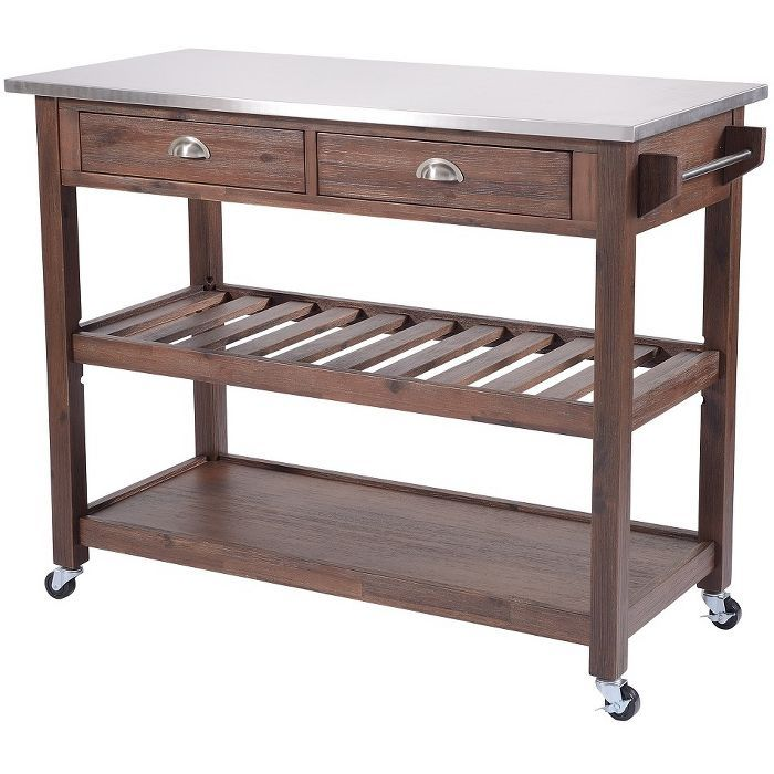Sonoma Kitchen Cart With Stainless Steel Top Chestnut Wire Brush
