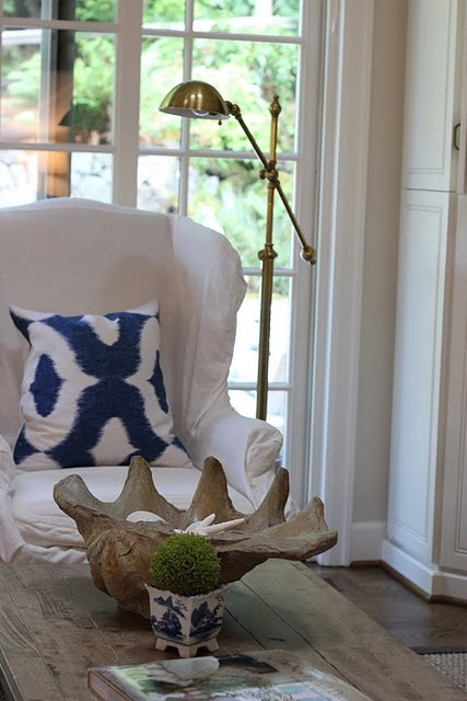 LUCY WILLIAMS INTERIOR DESIGN - blue and white pillow, chair, reclaimed wood table....