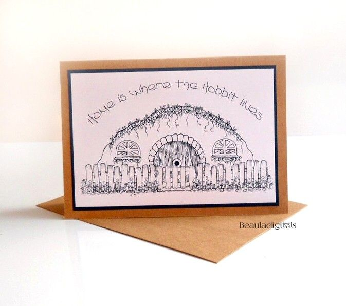 Hobbit Greeting Card Hand drawn Colour in Card for New Home  Housewarming Gift