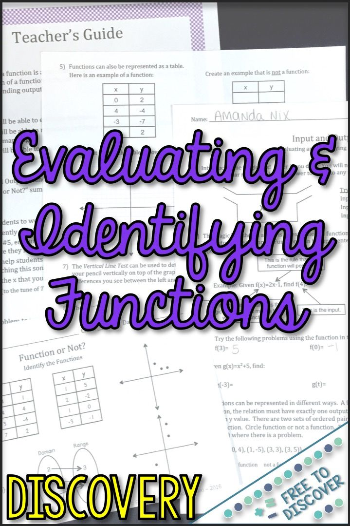 Evaluating And Identifying Functions Worksheet Middle School Math Discovery Based Learning Identifying Functions