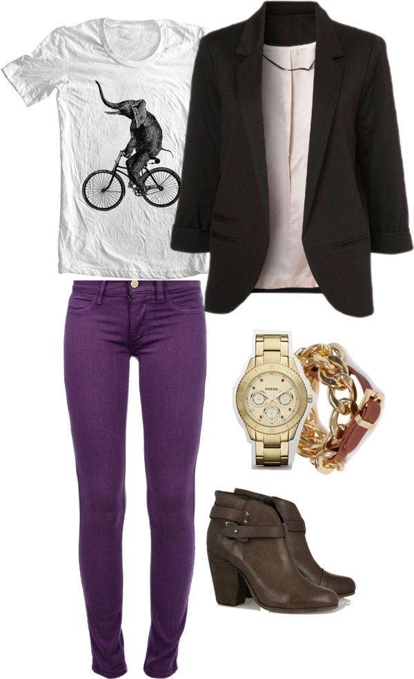 "Skinny Jeans Outfit Ideas | Purple skinny jeans"" by wizness on Polyvore 