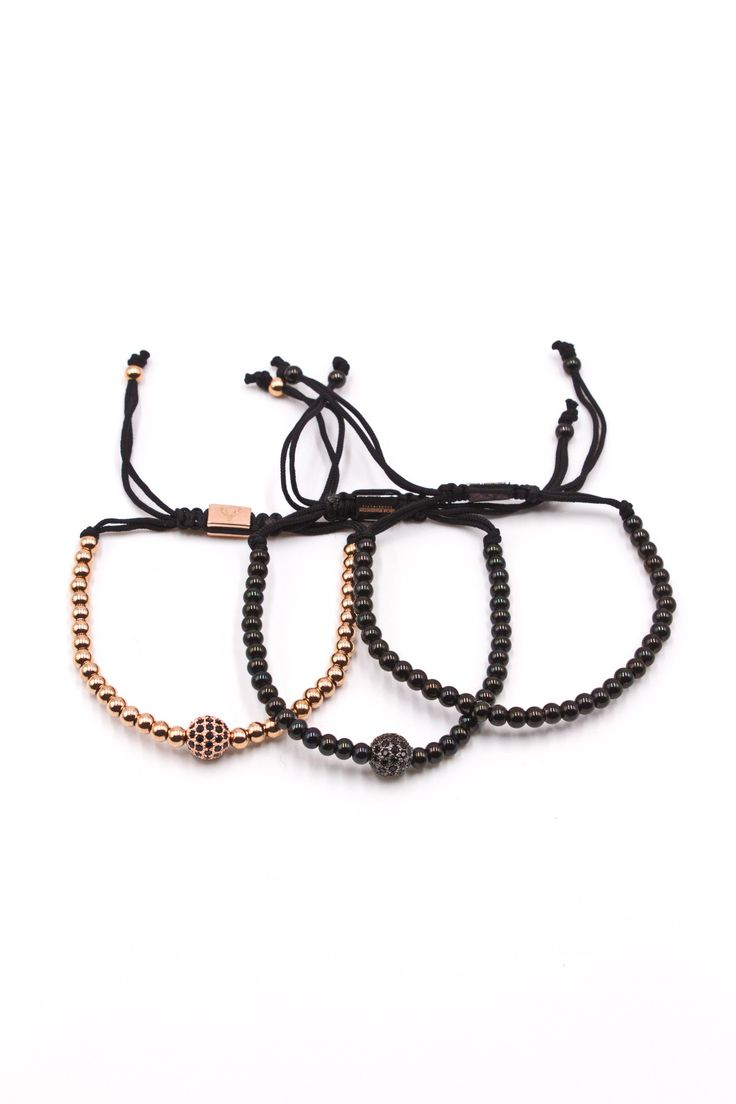 Men's 3-Pack Beaded Bracelet String Set