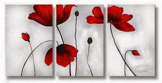 Cuadros Tripticos en Flores | Imágenes Arte Temático