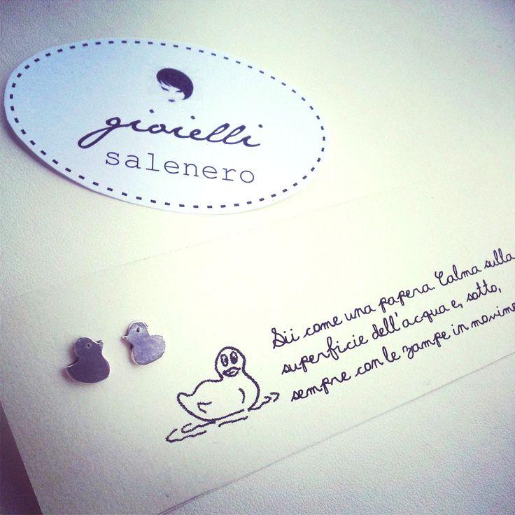 cute silver handmade jewellery / silver ducks earrings / by salenero.com