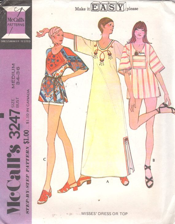 Mccalls 3247 1970s Misses Top Dress CAFTAN Pattern  by mbchills