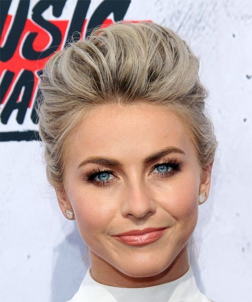 Julianne Hough Long Straight Formal Updo Hairstyle – Light Platinum Blonde Hair Color