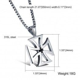 FATE LOVE Vintage Stainless Steel Friendship Cross Pendant Chain Necklace For Men