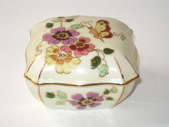 Zsolnay Hungarian Handicrafts Jewel Box Flower Colour Decor Porcelain
