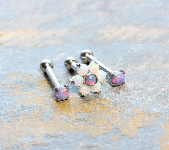 Flower Purple White Fire Opal Triple Helix Cartilage Earrings,Forward Helix,Internal Thread Prong Setting,Surgical Steel Barbells