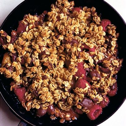Nigel Slater's chocolate, raspberry and apricot oat crumble, and easy Sunday lunch dessert recipe from http://www.redonline.co.uk