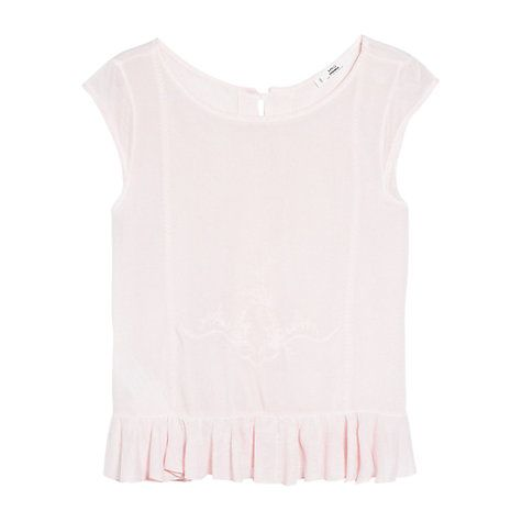 Buy Mango Embroidered Ruffle Top, Apple Blossom Online at johnlewis.com