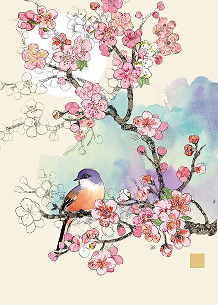 BugArt Collage ~ Cherry Blossom Bird. Collage *NEW* Designed by Jane Crowther.