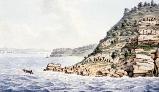 """""""Aborigines with spears attacking Europeans in a rowing boat"""" a watercolor by Joseph Lycett, c 1820 (Sydney Museum)"""