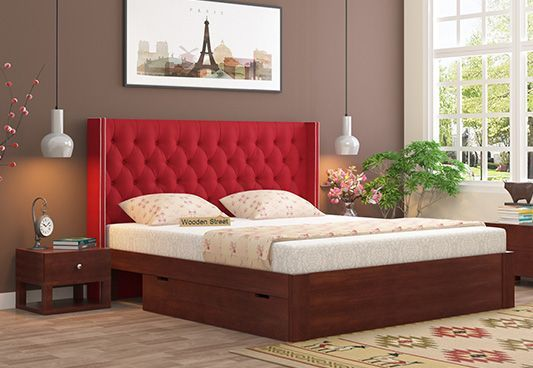 Drewno Upholstered Bed With Storage in Red is an astonishing bedstead and would suit the high end interior design. The #bedwithstorage are like bliss as they allow you to hide the bedding and offers easy storage facility. Buy #fabric #UpholsteredBed at best price #mumbai #bangalore #delhi