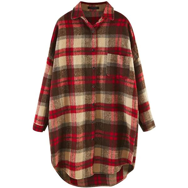 Khaki Plaid Thick Long Sleeve Loose Womens Blouse ($31) ❤ liked on Polyvore featuring tops, blouses, loose blouse, long sleeve blouse, loose fitting tops, loose fit tops and khaki top