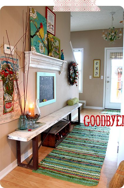 """Pretty and inviting:) This pin gave me the idea (event hough it's not actually part of the space) to do a sign facing you when you come in my front door that says """"hello and welcome"""" and one facing you when you leave that says """"Goodbye, come back soon!"""""""