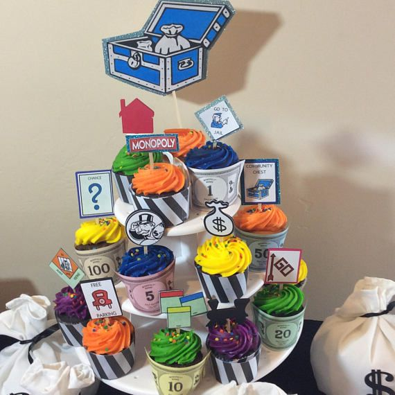 Monopoly Board Game Party Cupcake Toppers Picks Theme Free Parking