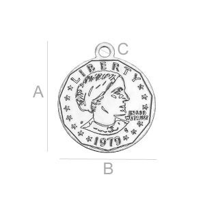 SILVER US SUSAN B.ANTHONY DOLLAR PENDANT LK-0126 (0,50 MM)  SIZE:A=13,90 mm; B=11,90 mm; C=1,20 mm,  sterling silver (AG-925)  Available options: AG 925 (18K- Rose Gold Plated) AG 925 (24K- Gold Plated) AG925 ( BRH- Black Rhodium Plated) AG 925 (RH- Rhodium Plated)
