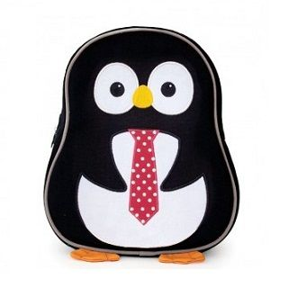 Penguin Toddler Backpack - $59.95 - Made from eco-friendly, recycled materials, each has embroidered details and vibrant colours and is 27.30cm x 30.48cm x 13.97cm in size. Both the backpack and lunch packs have a nametag and an apple zipper pull. #sweetcreations #kids #toddler #school #kindy #backpack #penguin #ecofriendly #ApplePark