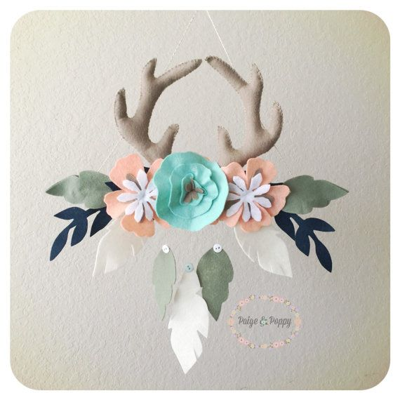 Baby Mobile - Boho Baby Mobile - Tribal Feather Nursery - Antler and Floral Nursery Decor - Baby Girl Mobile - Peach and Gold