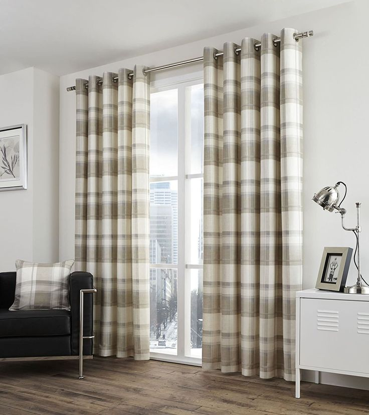 Natural Beige Lined Eyelet Curtains Balmoral Check 100 Cotton Ready Made Ring