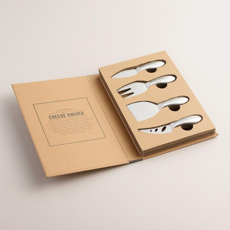 A brilliant hostess or housewarming present, our exclusive set includes four essential cheese utensils cleverly packaged in a book-style gift box. Crafted of high-polished stainless steel with a brushed satin finish, the parmesan knife, cheese fork, chisel knife and narrow spear will let you hold, cut, slice, shave and break cheese like a professional cheesemonger.