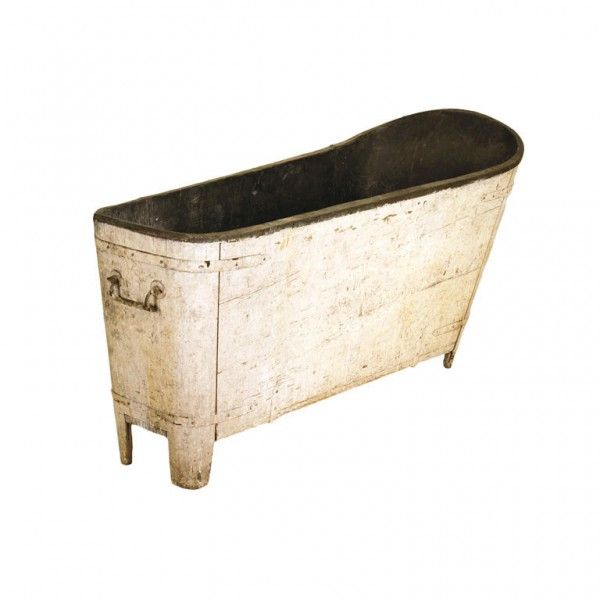 Painted Pinewood and Copper Lined Bathtub - with old painted surface, original decorative iron strapwork and handles, retaining original stopper and drain, the patinated copper liner original, resting on original bracket feet
