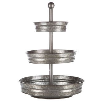 Galvanized Metal 3-Tier Tray Stand