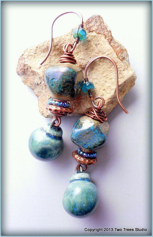 artisan earrings lampwork glass by
