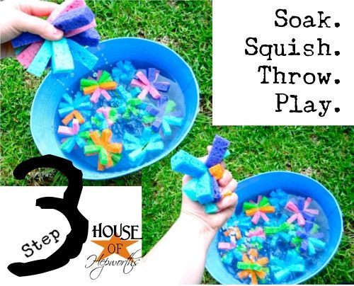 Sponge Water Bombs = I think this is awesome.  No small balloon bits to pick up.